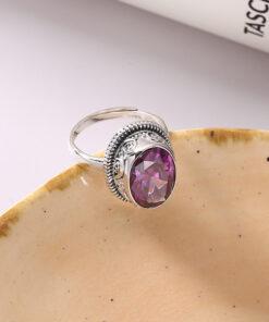 [925純銀]推拉設計紫水晶橢圓戒指