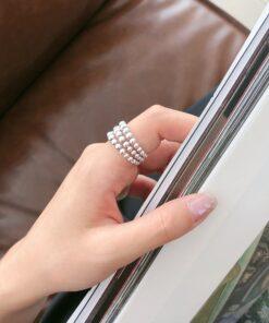 【s925純銀】三層圓珠戒指個性ins開口單戒