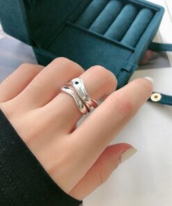 [925純銀]極簡不規則寬面戒指