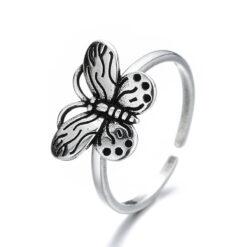 [銅]復古鏤空蝴蝶戒指