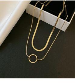 [鈦鋼]雙層字母O吊墜項鍊