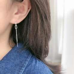 [925純銀]百搭橢圓流蘇耳環