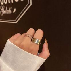 [合金]真金電鍍光面雙層鏤空戒指套裝
