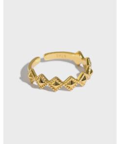 [925純銀]極簡波浪菱形戒指