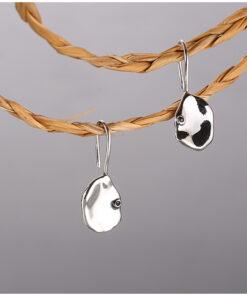 [925純銀]簡約幾何凹凸面不規則片狀耳環