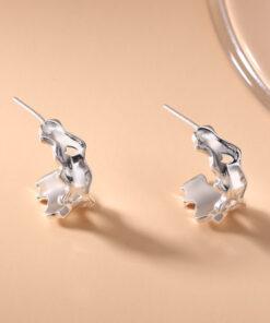 [925純銀]火山熔岩幾何不規則C型半圓耳釘耳環