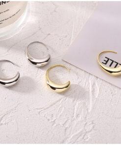 [925純銀]氣質金屬感水滴耳環