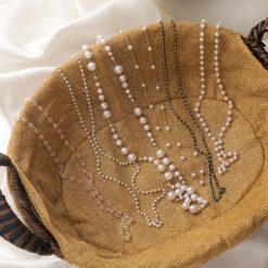 [合金]復古珍珠水晶串珠口罩鏈項鍊