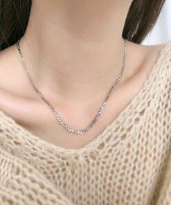 [925純銀]簡約扁形鏈條項鏈