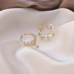 [銅]雙層流蘇鏈條星星鋯石戒指