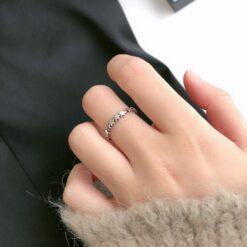 [925純銀]復古五角星開口戒指