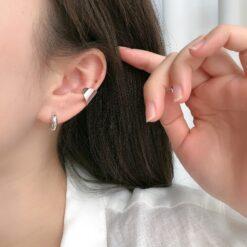 [925純銀]法式寬面耳骨夾