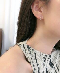 [925純銀]波浪耳扣耳圈