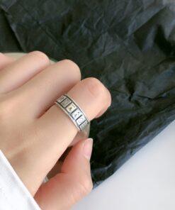 [925純銀]設計開口麻將戒指