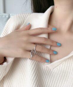 [925純銀]復古做舊百搭閉口幾何環環相扣戒指