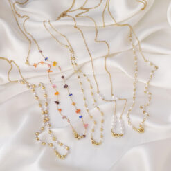 [合金]珍珠水晶眼鏡鏈項鍊