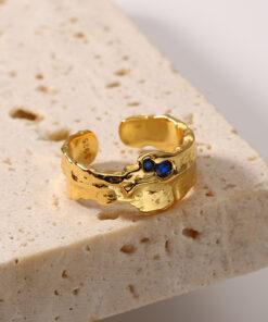 [925純銀]藍寶石紋路戒指