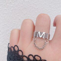 [925純銀]開口復古做舊鏈條字母M流蘇戒指