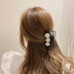 珍珠蝴蝶結髮抓髮夾