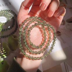 [碧璽+綠髮晶]髮絲三圈手鍊