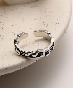 [925純銀]小眾設計音符戒指