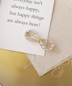 甜美鋯石蝴蝶結髮夾