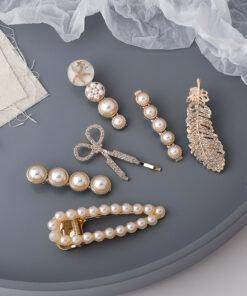 羽毛珍珠剪刀六件套髮夾