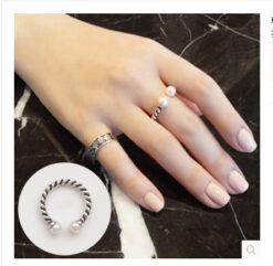 [925純銀]復古雙珍珠開口戒指