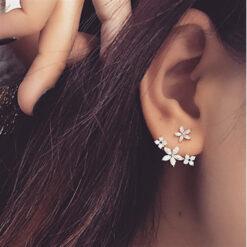 [925銀針]韓版時尚花朵耳釘