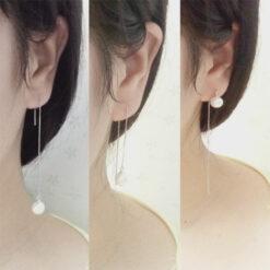[925純銀]流蘇白珍珠耳線