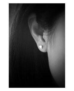 [925純銀]拉絲不規則幾何多邊形耳釘