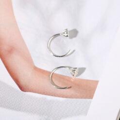 [925純銀]設計蓮蓬彎鉤耳釘