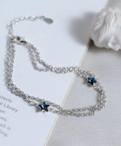 [925純銀]雙層五角星藍水晶手鍊