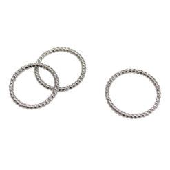 [925純銀]個性串珠細邊戒指