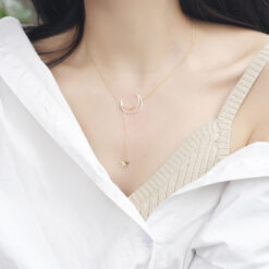 [925純銀]創意月亮五角星項鏈
