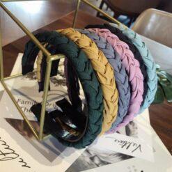 手工編織麻花色細邊帶齒防滑頭箍