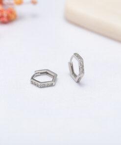 [925純銀]簡約六邊形鑲鑽耳扣
