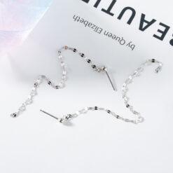 [925純銀]簡約鏈條流蘇銀耳環