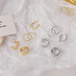 [合金]復古疊戴波浪鏈條戒指套裝