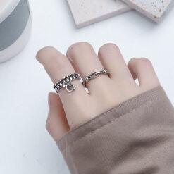 [銅]復古鏈條繩結戒指