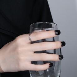 [銅]鏤空交叉線條開口戒指