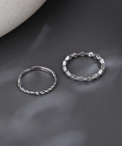 [銅]鏤空菱形海蘭鋯波紋戒指