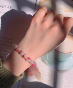 [碧璽]冰种红梅花水晶手鍊