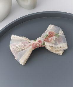 刺繡玫瑰花朵飄帶彈簧夾髮夾