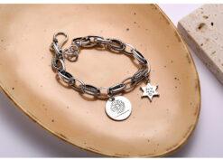 [925純銀]粗鏈條圓牌雛菊星星手鍊