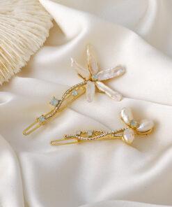 珍珠花朵一字夾髮夾