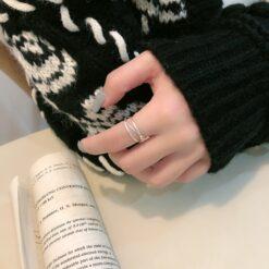 [925純銀]三線圈簡約閉口戒指