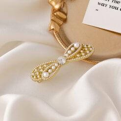 復古珍珠蝴蝶結髮夾