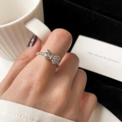 [銅]蝴蝶結螺紋開口戒指