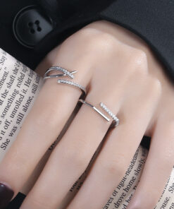 [銅]幾何一字交叉戒指